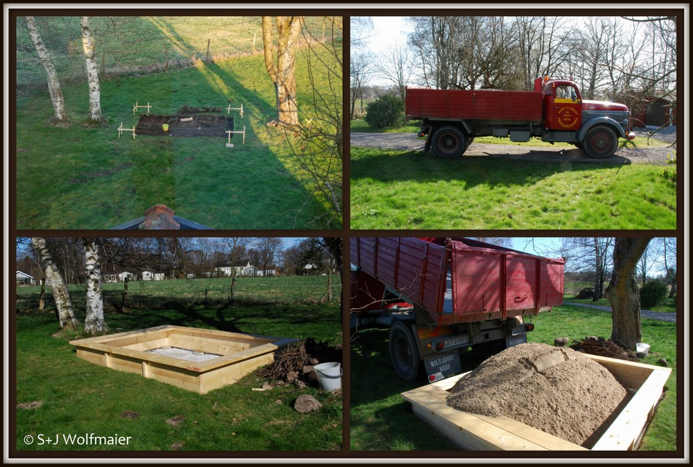The preperation, the sandbox, the sandtruch and the filling of the sandbox