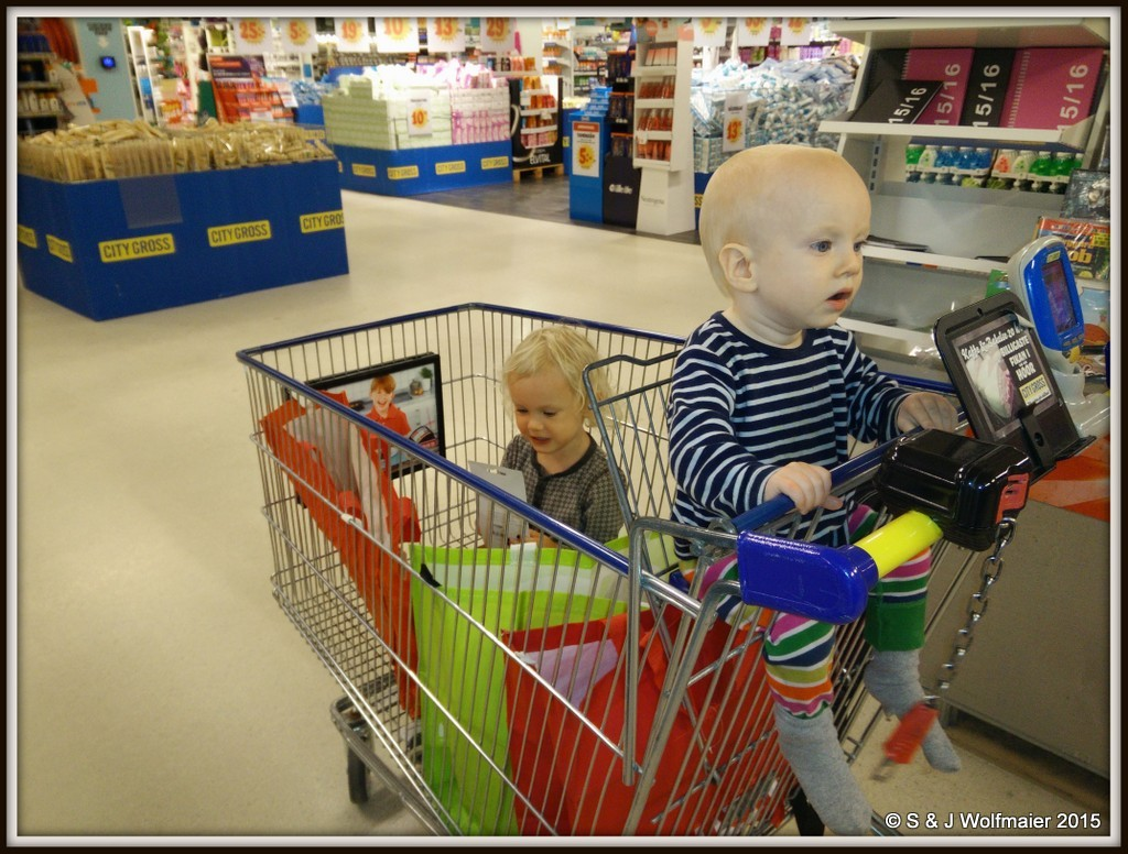 Our daughter and son in the shopingcart at the store