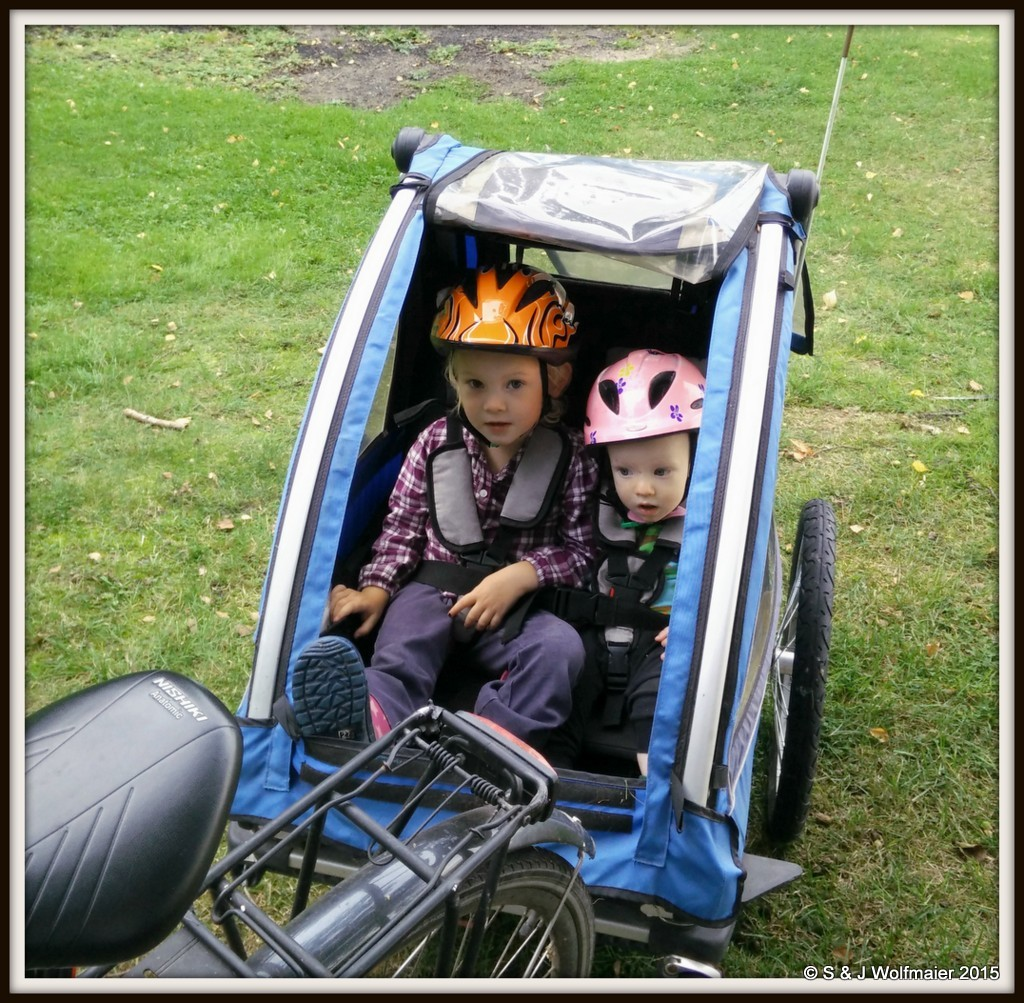 Kids in bicycle trailer