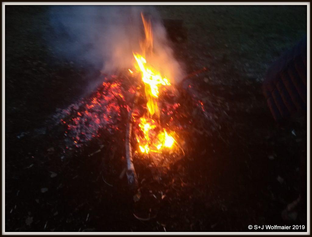 Camp fire in the dark