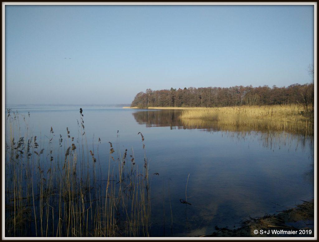 Lake in spring haze.